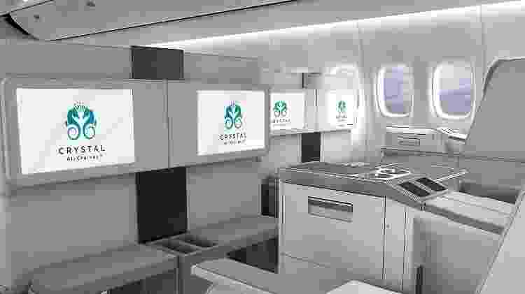 Nas jornadas da Crystal AirCruises, filmes serão exibidos em telas de 24 polegadas  - Divulgação/Crystal AirCruises