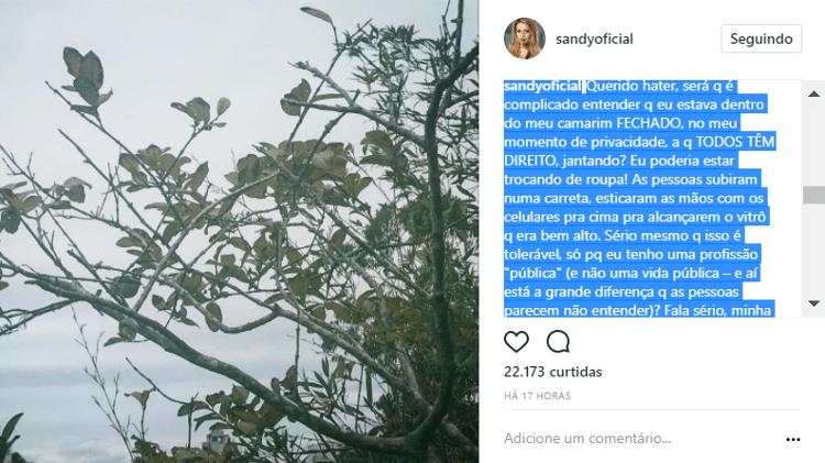 Reprodução/Instagram/sandyoficial