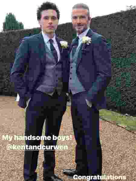O ex-jogador de futebol David Beckham e o filho mais velho, Brooklyn - Reprodução/Instagram