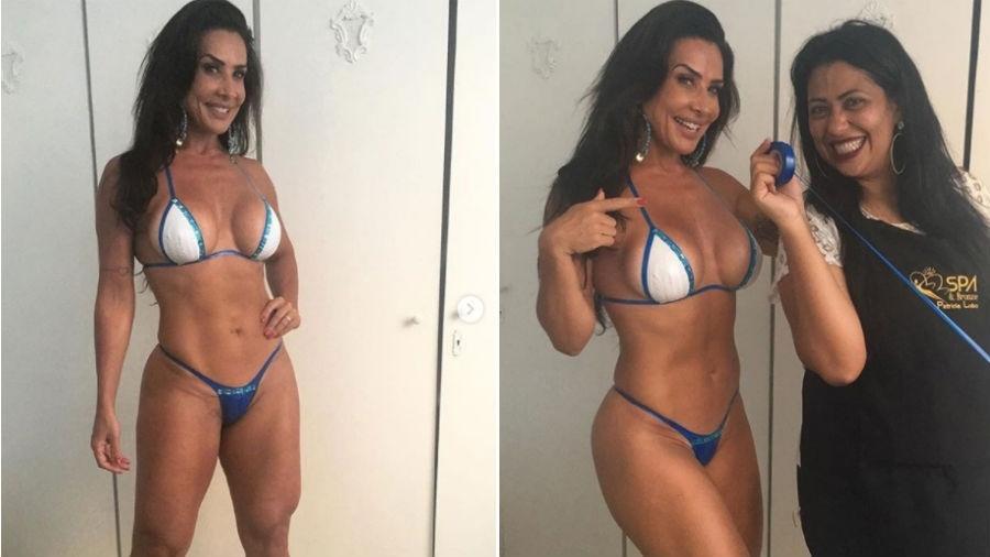 Scheila Carvalho mostra biquíni de fita e posa ao lado de profissional de clínica de estética - Reprodução/Instagram