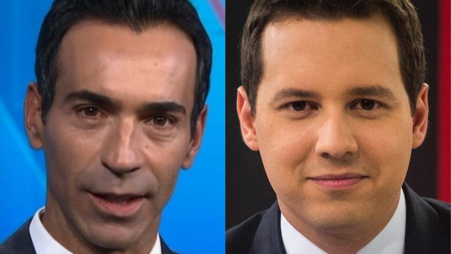 César Tralli e  Dony De Nuccio são palestrantes, além de apresentadores de telejornais - Montagem/UOL