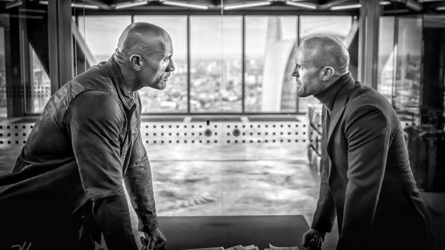 """Dwayne Johnson e Jason Statham em """"Hobbs and Shaw"""" - Divulgação"""