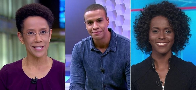 """Zileide Silva, Thiago Oliveira e Maria Júlia Coutinho: """"trinca negra"""" apresentou telejornais da Globo no mesmo dia - Montagem/UOL/Reprodução/TV Globo"""