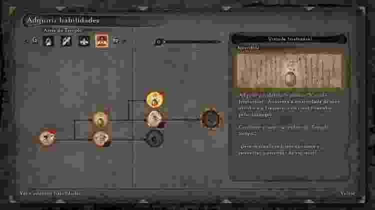 """A árvore de habilidades """"Artes do Templo""""  tem melhorias para a coleta de moedas e itens - Reprodução"""