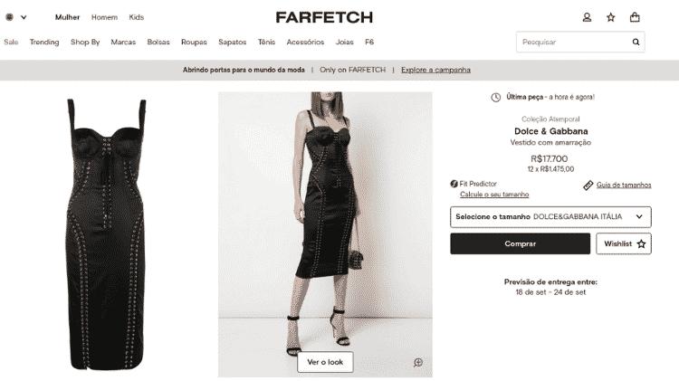 vestido luciana gimenez - Reprodução/Farfetch - Reprodução/Farfetch