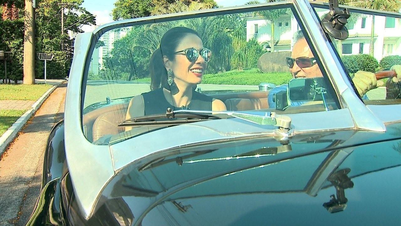 Luciana Gimenez anda de Jaguar com Carlos Alberto de Nóbrega em entrevista para o