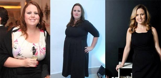 Cintia antes, com 116 kg, e, à direita, com 69 kg, após usar um aplicativo de dieta - Reprodução/Arquivo pessoal