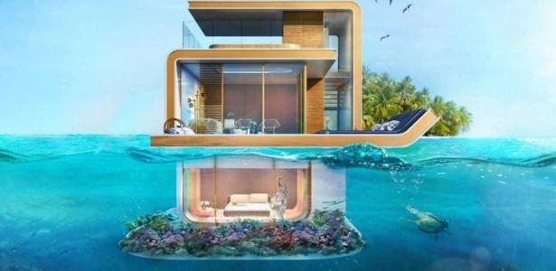 O projeto das casas tem três andares, um deles submerso no oceano - Divulgação/The Kleindienst Group