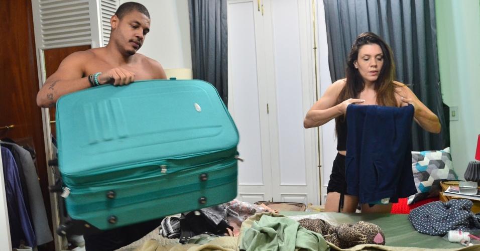 """Simony e Patrick Souza arrumam as malas em quarto no """"Power Couple Brasil"""""""