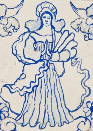 """Uma das obras de Djanira na mostra, """"Nossa Senhora da Conceição (estudo de azulejo) - Divulgação"""