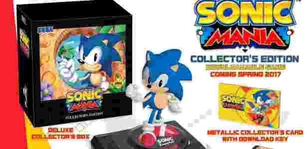 """Nostalgia pura: Edição especial de """"Sonic Mania"""" traz estatueta de Sonic sobre um Mega Drive, cartucho com anel dourado e outros itens de colecionador - Divulgação"""