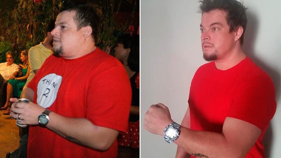 Antes e depois de Zebu, que emagreceu 51 kg - Arquivo pessoal
