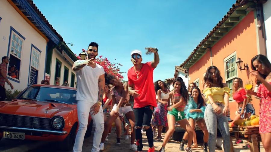 """Gusttavo Lima, Hungria e Cleo Pires em cena do clipe de """"Eu Vou Te Buscar"""" - Reprodução"""