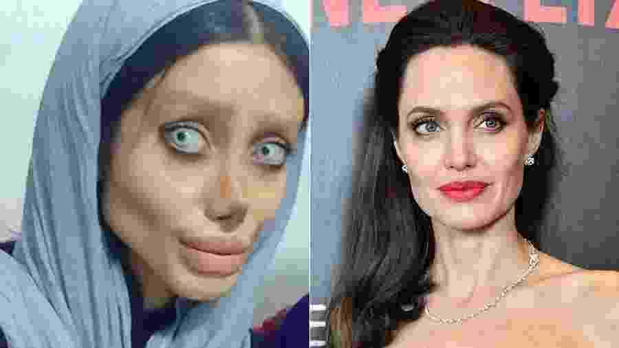Iraniana tenta ficar como Angelina Jolie - Reprodução/Instagram/Getty Images