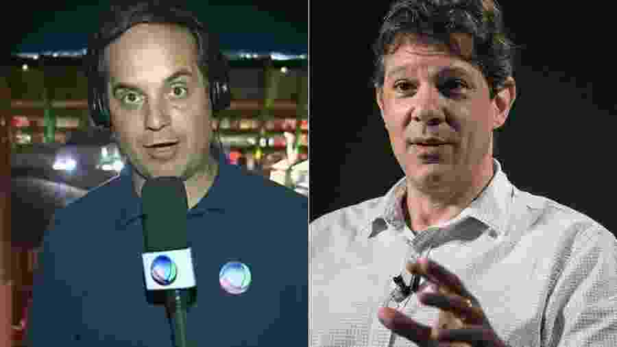 O repórter Rodrigo Vianna, da Record, e o ex-prefeito de São Paulo Fernando Haddad - Montagem/UOL