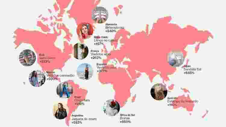 Mapa de tendências do Pinterest - Reprodução/Pinterest - Reprodução/Pinterest