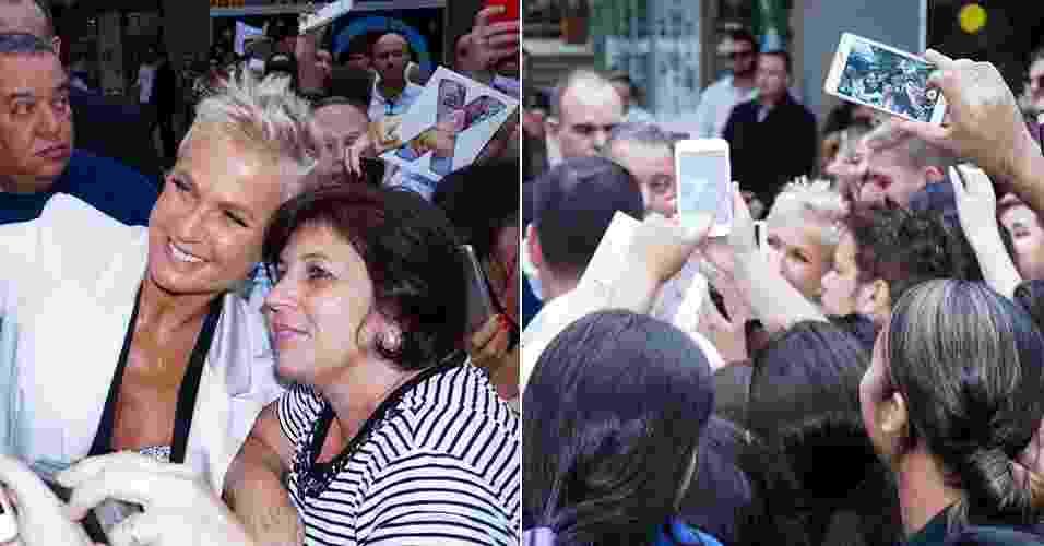 10.mar.2016 - A apresentadora Xuxa Meneghel causa tumulto no Shopping Vic Center, em Santa  Bárbara D'Oeste, no interior de São Paulo - Rodrigo Sanches/Brazil News