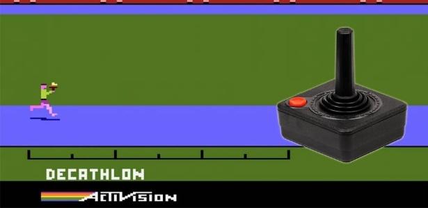 """Vitória era conseguir terminar uma partida de """"Decathlon"""" sem quebrar o controle do Atari - Arte/UOL Jogos"""