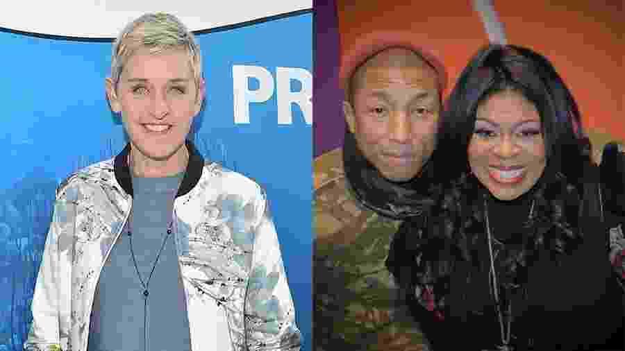A apresentadora Ellen DeGeneres cancelou participação de cantora Kim Burrell (à direita), que se apresentaria com Pharrell em seu programa - Getty Images e Reprodução/Instagram/kimburrelllove