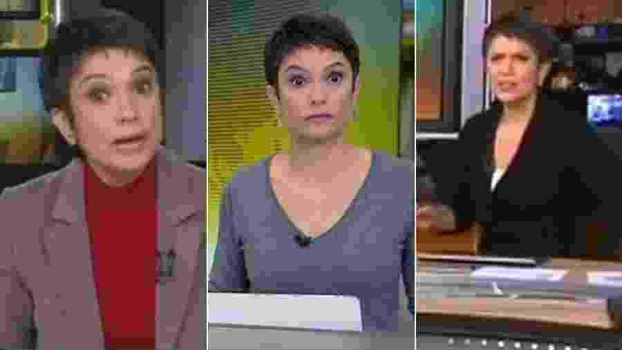 """Reações de Sandra Annenberg no """"Jornal Hoje"""" - Montagem/UOL"""