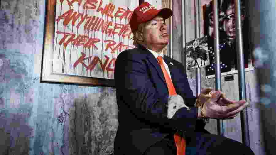 Trump aparece cercado de ratos e por trás das grades em seu próprio hotel - Divulgação