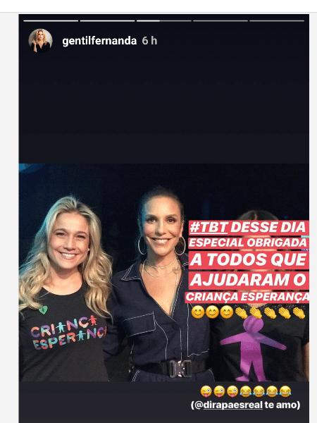 Fernanda Gentil corta Dira Paes de foto - Reprodução/Instagram
