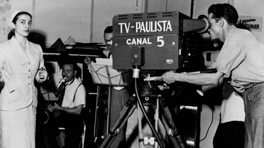 Um comercial ao vivo na TV Paulista em 1952 - UH/Arquivo do Estado/Folhapress