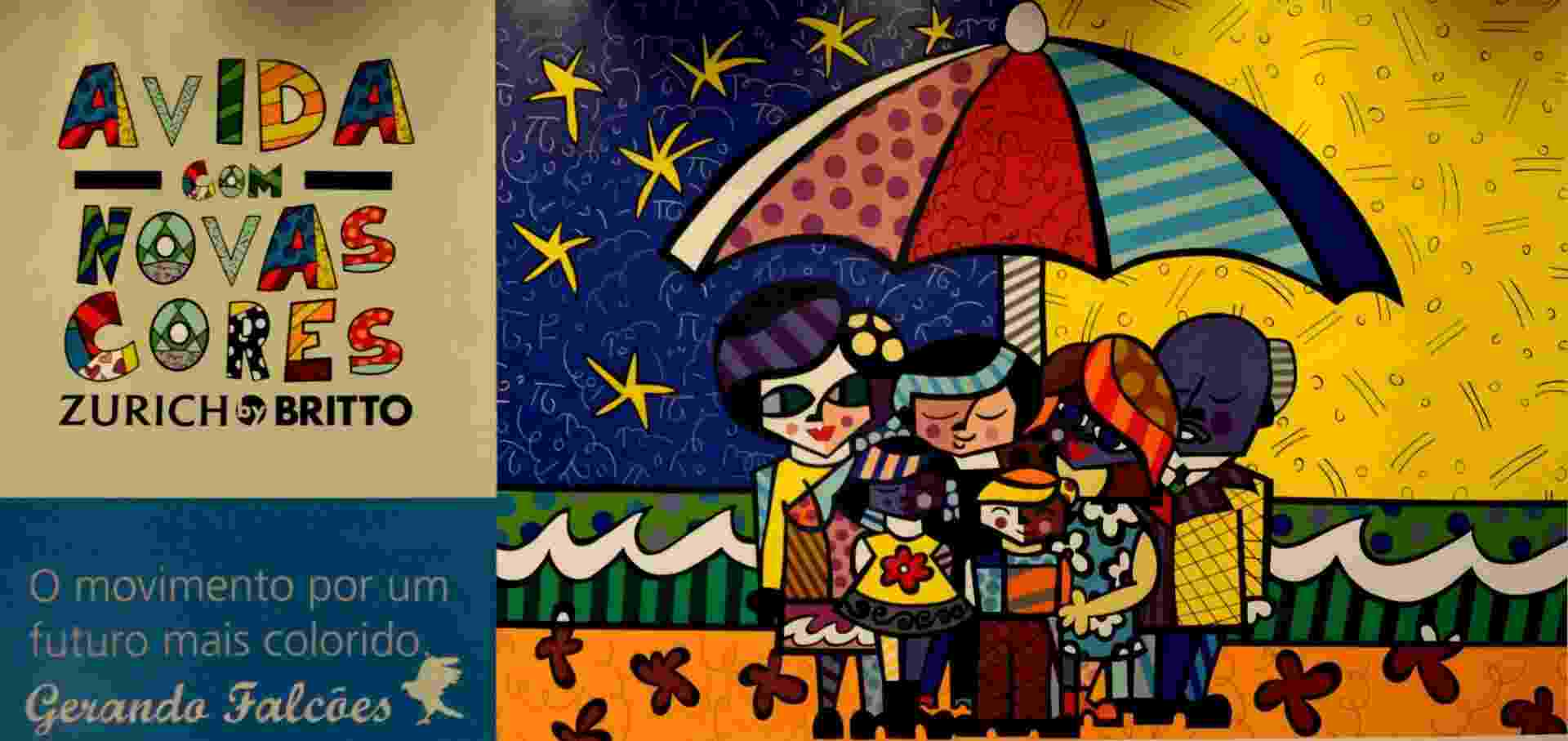 """25.out.2015 - Neste domingo (25), a comunidade Kemel, localizada em Poá, no extremo leste da Grande São Paulo, ficou mais colorida ao receber o maior painel do mundo (50 m2) do artista Romero Britto. A comunidade é atendida pela ONG Gerando Falcões, escolhida pela seguradora Zurich para ser beneficada pela ação """"A Vida com Novas Cores"""" - Divulgação"""