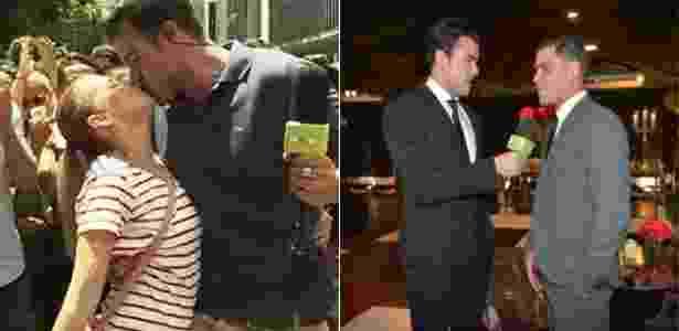 À esq., Joaquim Lopes ganha selinho de fã durante matéria em São Paulo, à dir. ele entrevista o ator Juliano Cazarré  - Reprodução/Gshow/Video Show - Reprodução/Gshow/Video Show