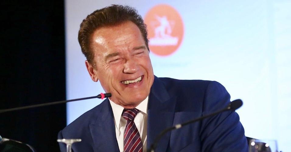 Arnold Schwarzenegger em entrevista coletiva no Arnold Classic South America