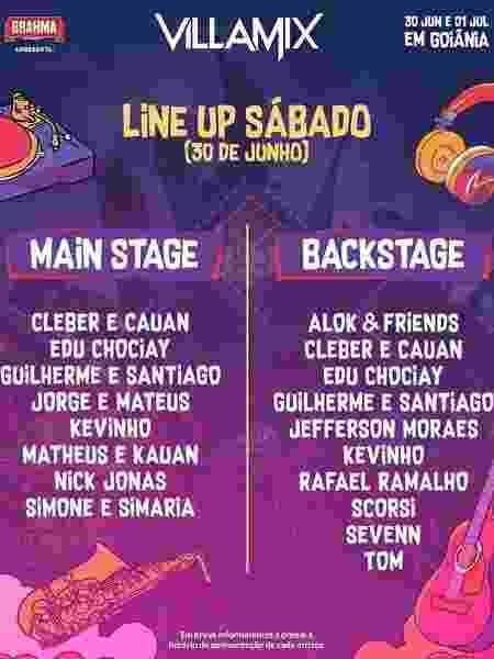 Line up do primeiro dia do festival VillaMix Goiânia - Divulgação - Divulgação