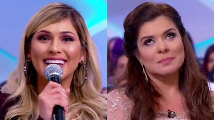 """Lívia Andrade e Mara Maravilha no """"Programa Silvio Santos"""" - Reprodução/SBT"""
