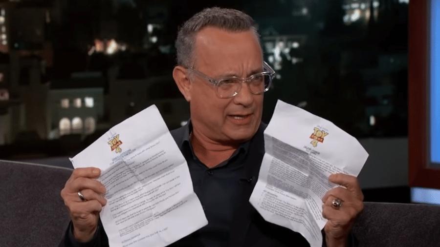 Tom Hanks durante programa de Jimmy Kimmel nos EUA - Reprodução