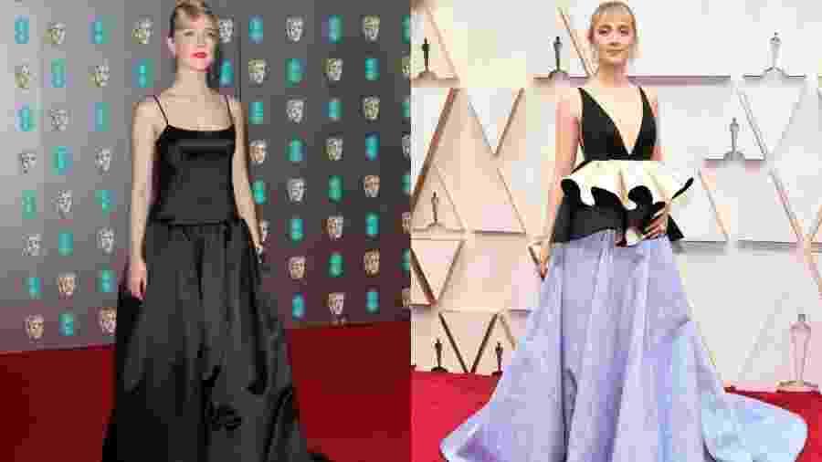 Saoirse Ronan usou vestido preto (à esq.) em premiação no dia 2 de fevereiro; tecido foi reaproveitado no longo para o Oscar 2020 - Getty Images