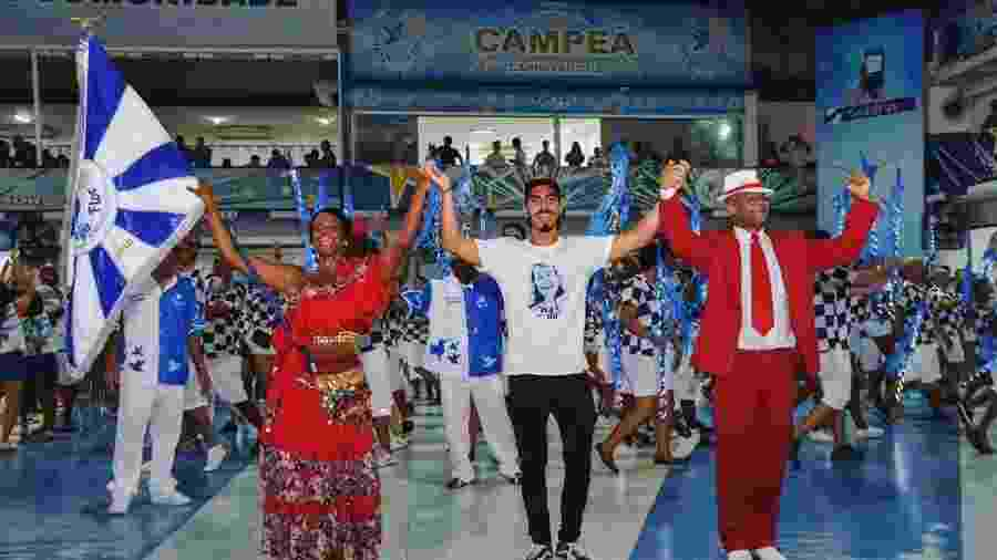 Gabriel David (centro) é filho do patrono Anísio Abraão David e comanda a Beija-Flor pelo terceiro ano no Carnaval - Reprodução/ Instagram