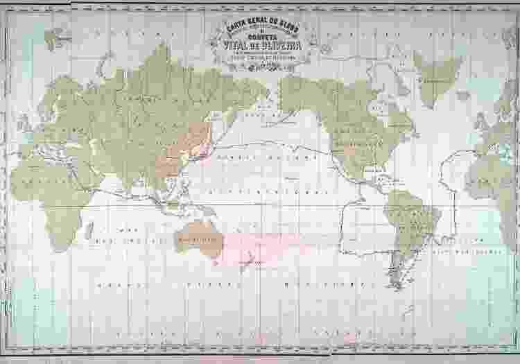 Mapa da primeira circum-navegação brasileira - Imagens cedidas pela Editora Dois Por Quatro - Imagens cedidas pela Editora Dois Por Quatro