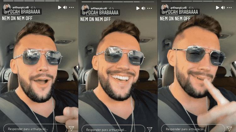 BBB 21: Arthur posta story usando óculos com adesivo da marca - Instagram/@arthurpicoli - Instagram/@arthurpicoli