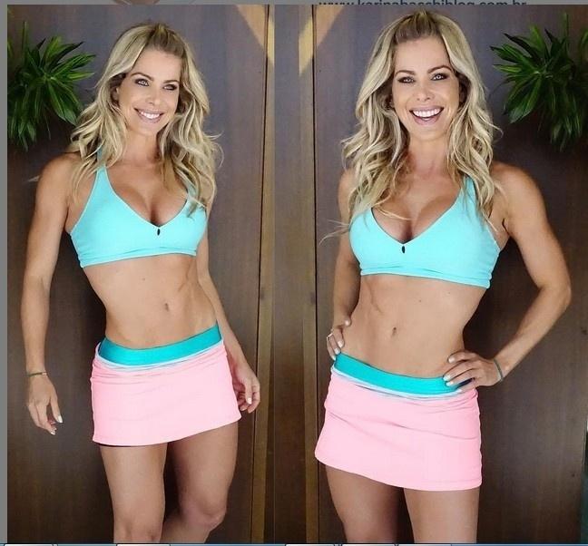 29.jul.2015 - Karina Bacchi está cada vez mais sarada e também orgulhosa de sua forma física. Nesta quarta-feira (29), a atriz publicou uma foto do look azul turquesa e rosa para mais um dia de malhação