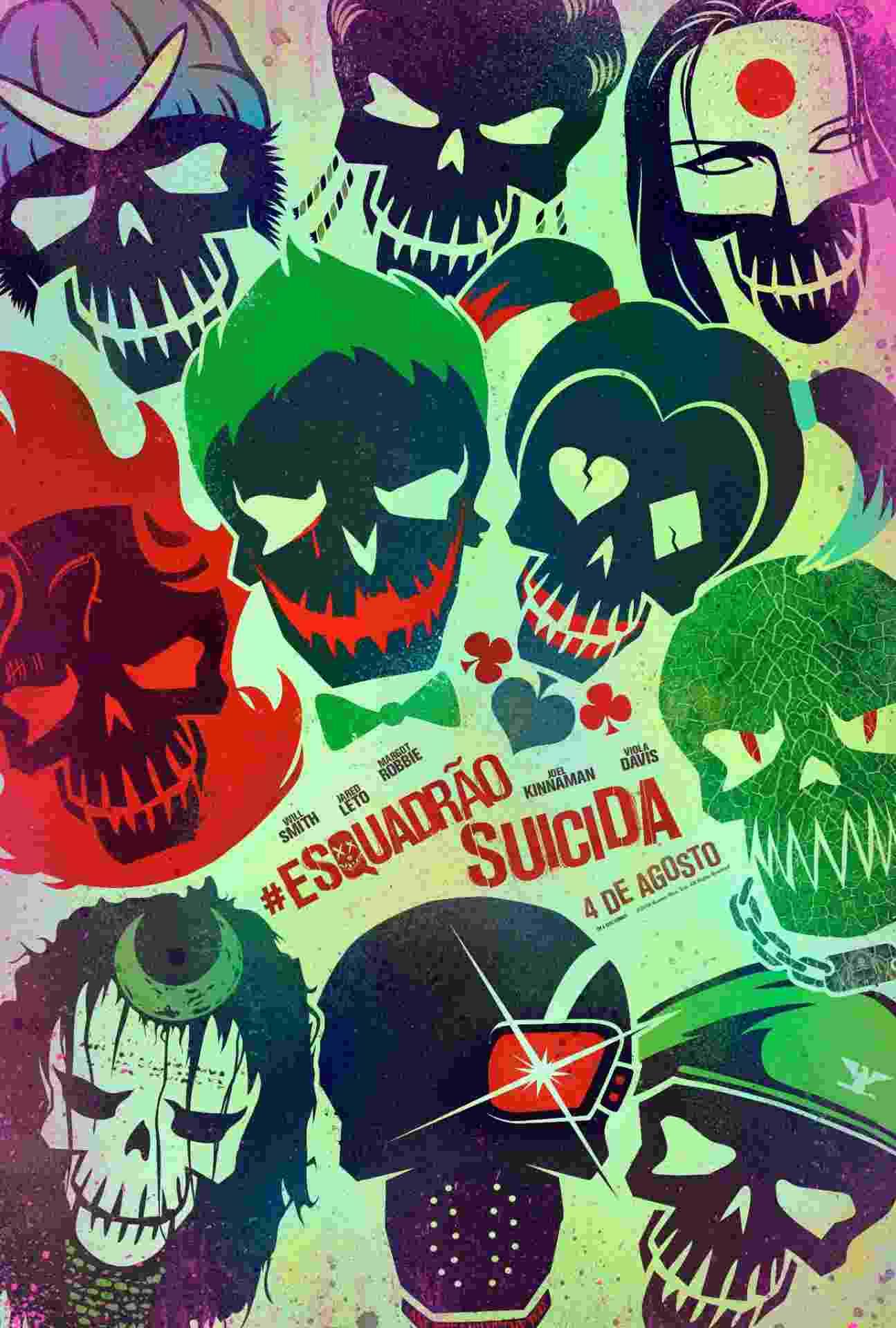 """Cartaz nacional do filme """"Esquadrão Suicida"""", que estreia no Brasil no dia 4 de agosto - Divulgação"""
