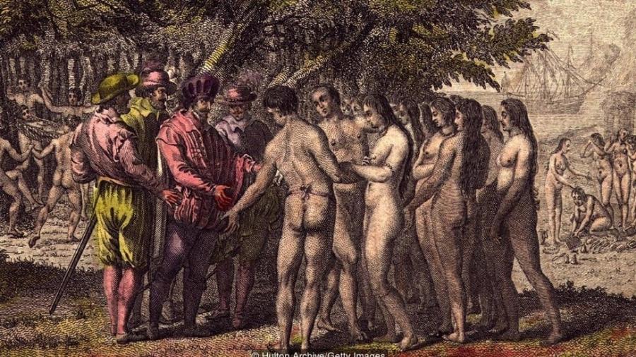 Por volta de 1518, o conquistador espanhol Hernán Cortés faz contato com indígenas na América do Norte - Hulton Archive