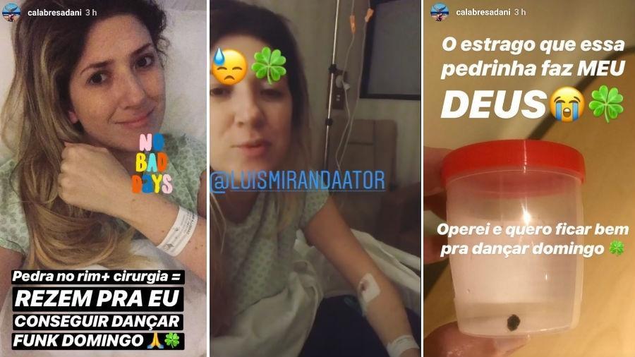 Dani Calabresa no hospital. Ela recebeu a visita do ator Luis Miranda e depois mostrou a pedra extraída de seu rim. - Reprodução/Instagram
