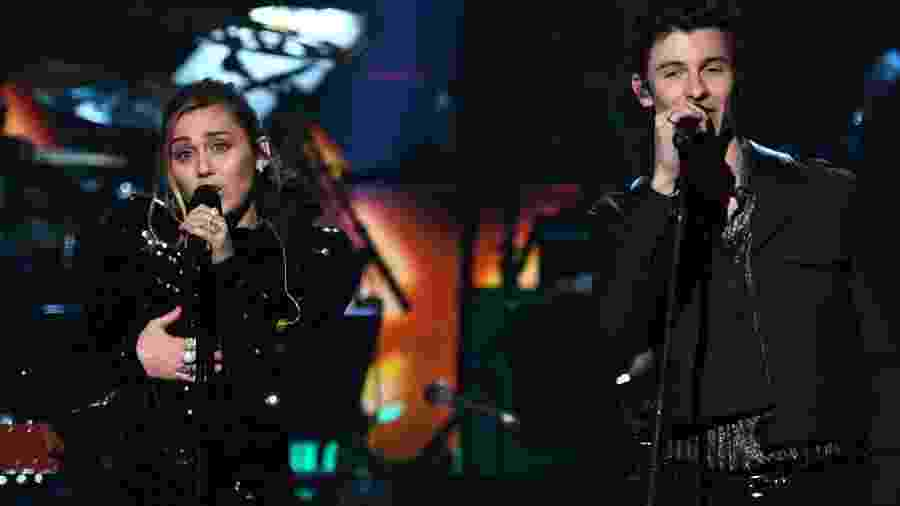 Miley Cyrus e Shawn Mendes cantam em tributo a Dolly Parton - Valerie Macon/AFP