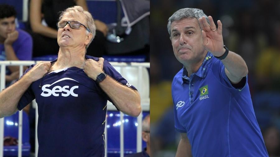 Bernardinho e José Roberto Guimarães se desentenderam após a Olimpíada de Atenas, em 2004 - Jorge Bevilacqua/Folhapress/Celso Pupo/Folhapress
