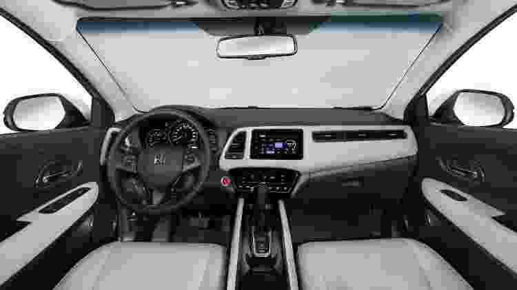 Cabine do HR-V Touring traz acabamento bicolor, teto solar panorâmico e bancos modulares - Divulgação