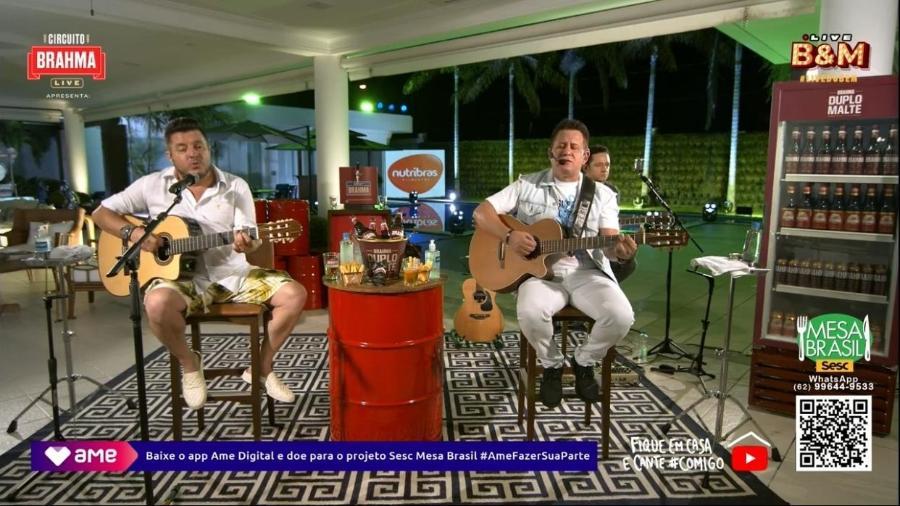 Bruno e Marrone em live no Youtube - Reprodução/Youtube
