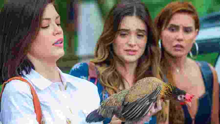 """Felipa, a galinha de """"Salve-se Quem Puder"""", com as protagonistas Vitória Strada, Juliana Paiva e Deborah Secco - Divulgação/TV Globo"""