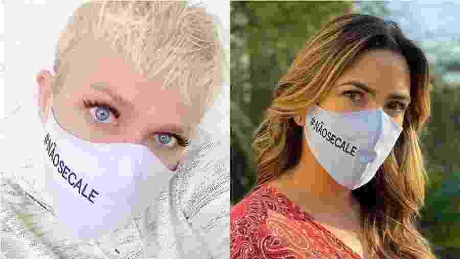 Xuxa e Patricia Abravanel usam máscara com a hashtag #NAOSECALE, contra o abuso sexual infantil - Reprodução/Instagram