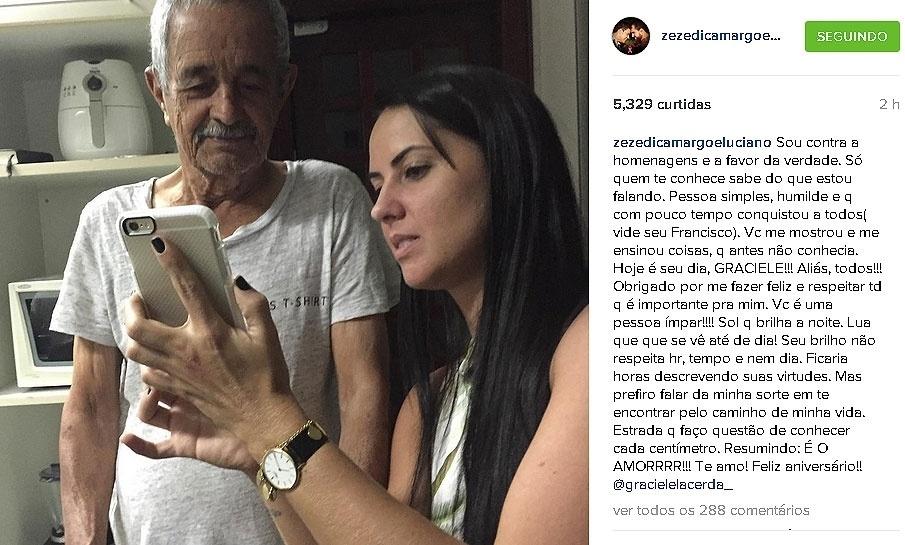 03.out.2015 - O cantor Zezé Di Camargo publicou uma foto de Graciele Lacerda com o pai dele, Francisco, para celebrar o aniversário da namorada