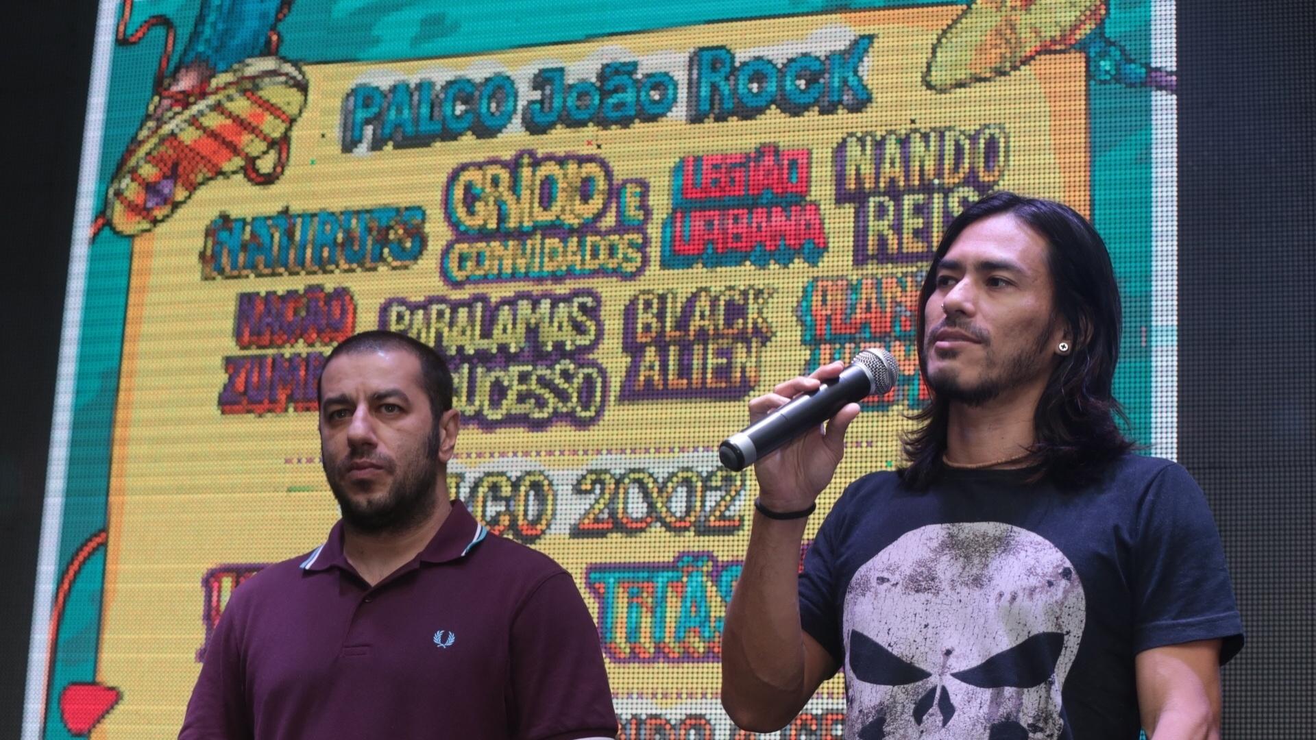 1º.mar.2016 - Badauí e Japinha, da banda CPM22, participaram do anúncio da programação da 15ª edição do Festival João Rock