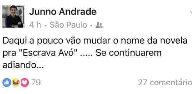 """8.abr.2016 - O ator Junno Andrade, namorado de Xuxa, reclama do atraso de """"Escrava Mãe"""" - Reprodução/Facebook/Junno Andrade - Reprodução/Facebook/Junno Andrade"""
